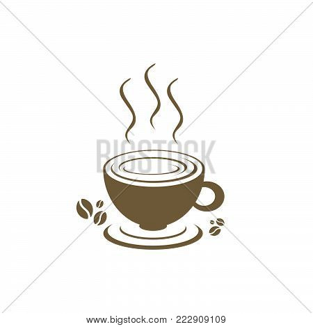 Coffee shop logo template natural abstract coffee cup. Coffee house emblem creative cafe logotype modern trendy symbol design vector illustration
