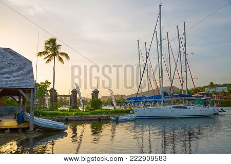 Antigua, Caribbean islands, English Harbour - May 19, 2017: English harbour international match club
