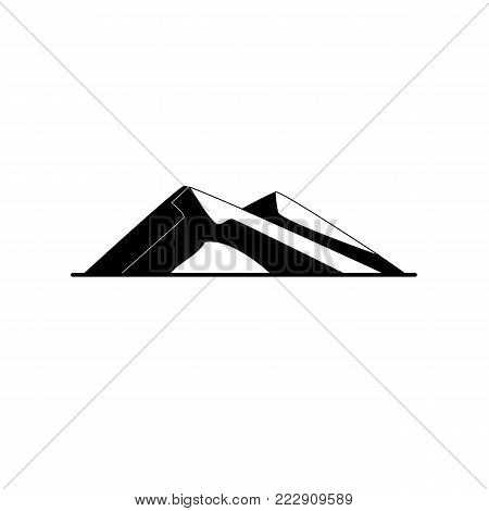 Sloping hills silhouette icon in flat style. Low mountain symbol on white background
