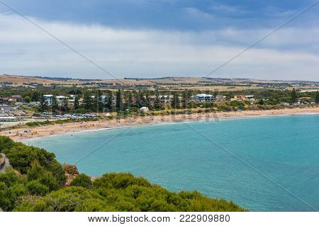 Spectacular seascape of beach and coastline. View from above. Horseshoe Bay in Port Elliot