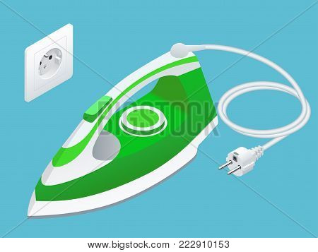 Isometric steam iron and power socket on blue background. iron housework ironed electric tool clean white background ironing steam housekeeping