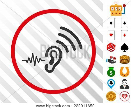 Listen And Transmit grey icon inside red round frame with bonus gambling pictures. Vector illustration style is flat iconic symbols. Designed for gambling gui.