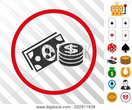 Money Cash grey icon inside red round frame with bonus casino images. Vector illustration style is flat iconic symbols. Designed for gamble software.
