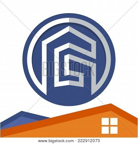Circle logo icon for business development of construction services, with the initial of the letter G