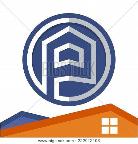 Circle logo icon for business development of construction services, with the initial of the letter P
