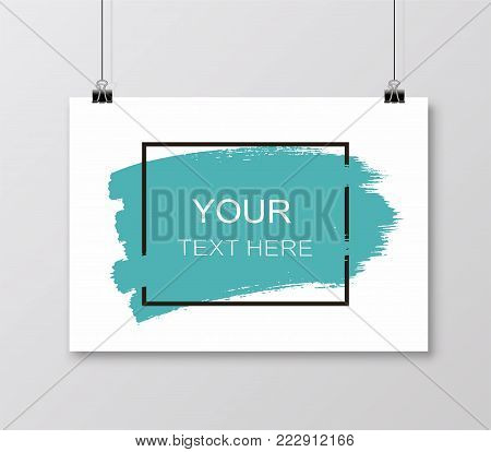 Empty A4 sized vector paper frame mockup hanging with paper clip. Grunge frame for text on a sheet - stock vector.