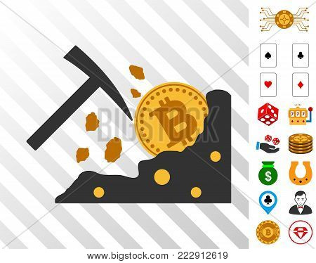 Bitcoin Rocks Mining pictograph with bonus gambling icons. Vector illustration style is flat iconic symbols. Designed for gamble software.