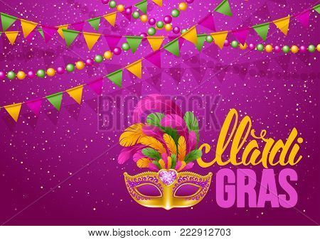 Mardi Gras Carnaval design. Luxury golden venetian mask with lush feathers and calligraphy inscription Mardi Gras on bright background with festive decorations. Vector illustration.