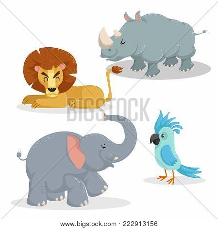 Cartoon trendy style african animals set. Lion, rhino, african elephant and parrot. Closed eyes and cheerful mascots. Vector wildlife illustrations.