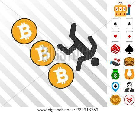 Person Fall Down Bitcoins icon with bonus gamble clip art. Vector illustration style is flat iconic symbols. Designed for gambling gui.