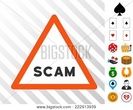Scam Warning icon with bonus gambling clip art. Vector illustration style is flat iconic symbols. Designed for gambling apps.