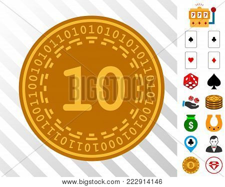 Ten Digital Coin pictograph with bonus gamble pictures. Vector illustration style is flat iconic symbols. Designed for gamble software.