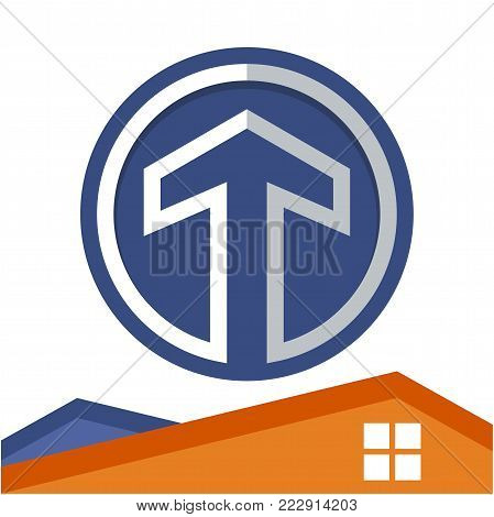 Circle logo icon for business development of construction services, with the initial of the letter T