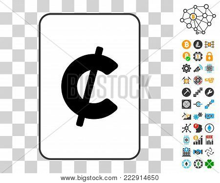 Cent playing card pictograph with bonus bitcoin mining and blockchain design elements. Flat vector pictograms for cryptocurrency websites.