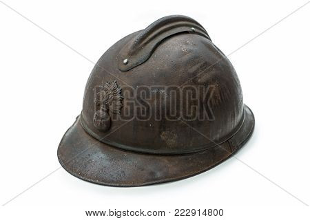 french helmet WW1 period isolated on the white background