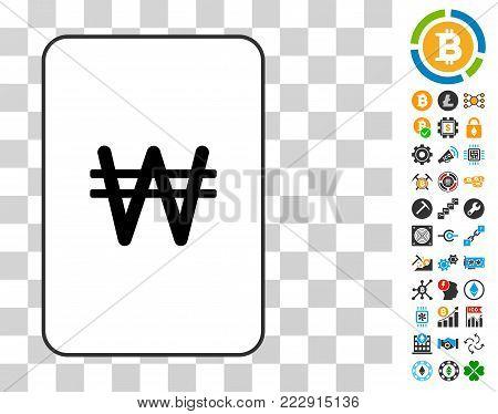 Korean Won gambling card pictogram with bonus bitcoin mining and blockchain icons. Flat vector ui elements for blockchain apps.