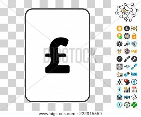Pound Sterling gambling card pictogram with additional bitcoin mining and blockchain pictograms. Flat vector icons for bitcoin software.