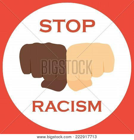 No to racism illustration. Discrimination symbol on a white background