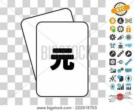 Yuan Renminbi gambling cards pictogram with bonus bitcoin mining and blockchain images. Flat vector pictograms for blockchain websites.
