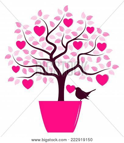 vector heart tree in pot and bird carrying heart isolated on white background