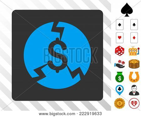 Financial Crash blue pictograph inside gray rounded rectangle with bonus gamble images. Vector illustration style is flat iconic symbols. Designed for casino gui.