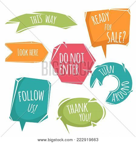 Abstract cartoon trendy design speech bubbles and signs with dummy phrases. Flat style modern vector