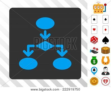 Flowchart blue icon inside gray rounded square with bonus gambling icons. Vector illustration style is flat iconic symbols. Designed for casino ui.
