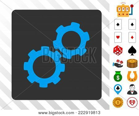 Gears blue icon inside gray rounded square with bonus gamble images. Vector illustration style is flat iconic symbols. Designed for gambling websites.