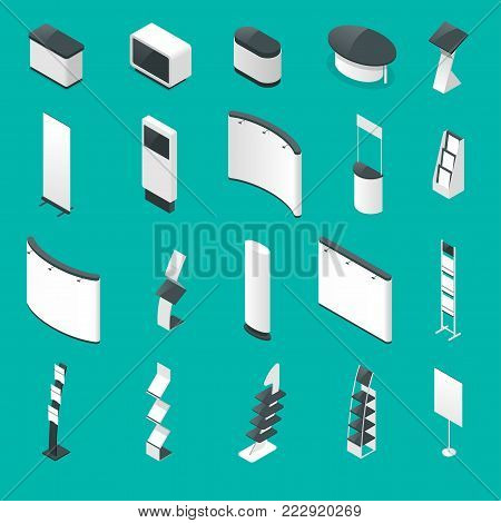 Isometric set of promotional stands or exhibition standands, handout on blue background isolated vector illustration.