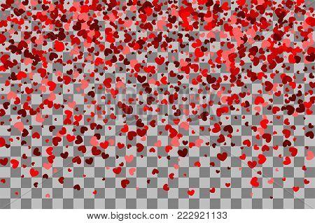 Valentines Day confetti shimmer hearts. Love vector decoration design. Romantic transparent background illustration random falling. Paper Valentine origami banner. Red heart holiday frame.