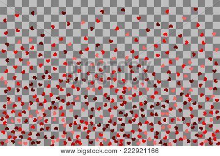 Love vector decoration design. Romantic transparent background illustration random falling. Paper Valentine origami banner. Red heart holiday frame. Valentines Day confetti shimmer hearts.
