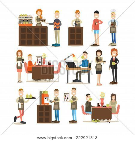 Coffee house vector icon set with workers making coffee, waiter and waitress serving coffee to visitors, confectioner with slice of cake and office people with coffee. Flat style design elements.