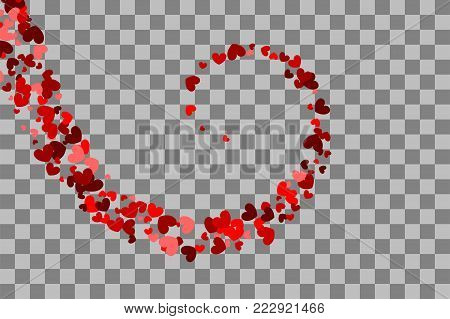 Red heart holiday frame. Valentines Day confetti shimmer hearts. Swirl origami banner. Love vector decoration design. Romantic transparent background illustration random falling. Paper Valentine.
