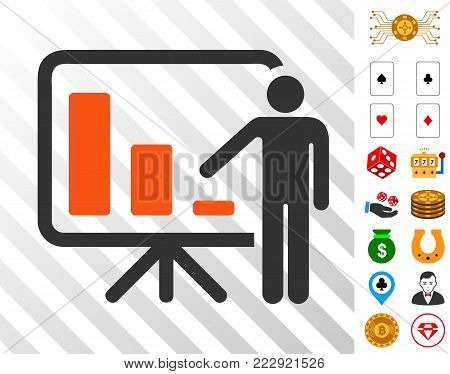Crisis Reporting Person pictograph with bonus casino images. Vector illustration style is flat iconic symbols. Designed for casino gui.