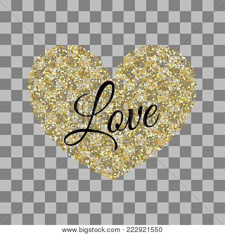 Golden heart shape. Vector illustration Valentines Day background. Love random falling paper confetti. Shimmer gold hearts. Frame decoration design Valentine holiday. Origami decoration. Greeting text