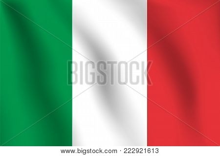 Italy Flag. Realistic Vector Illustration Flag. National Symbol Design.