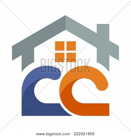 Icon logo for the construction services business development, with a combination of initials letter C & C