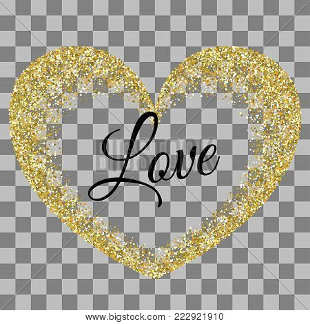Golden heart shape. Origami decoration. Greeting text. Vector illustration Valentines Day background. Love random falling paper confetti. Shimmer gold hearts. Frame decoration design Valentine holiday