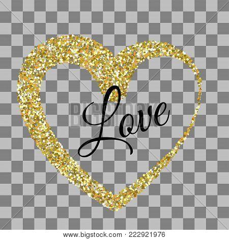 Origami decoration. Golden heart shape. Vector illustration Valentines Day background. Love random falling paper confetti. Shimmer gold hearts. Frame decoration design Valentine holiday. Greeting text