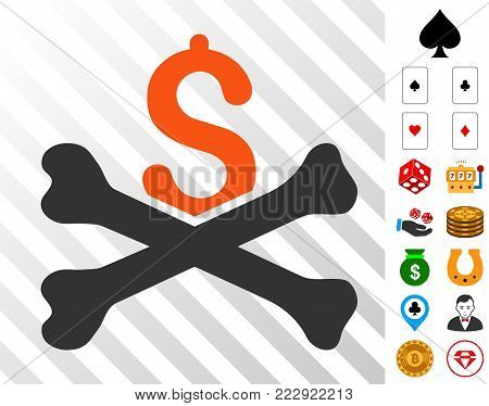 Financial Crash pictograph with bonus gambling images. Vector illustration style is flat iconic symbols. Designed for gambling apps.