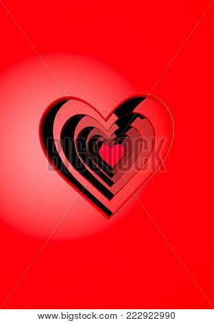 A 3D illustration of layered paper cutouts and red Valentine's Day hearts receding back