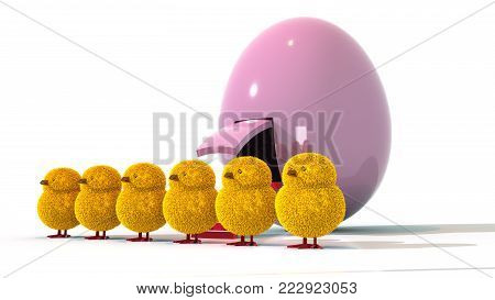 A 3D illustration featuring a side-angled view of a row of 7 feathered easter chicks standing in front of a large, purple Easter egg spaceship.