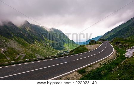 Transfagarasan route in stormy weather condition. lovely transportation scenery of legendary road in Romanian mountains