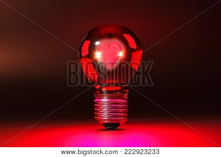 A 3D illustration of a Valentine's Day heart glowing inside a light bulb.
