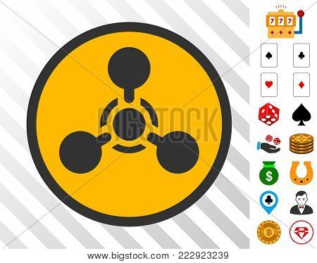 Wmd Nerve Agent Chemical Warfare pictograph with bonus gamble icons. Vector illustration style is flat iconic symbols. Designed for gamble websites.