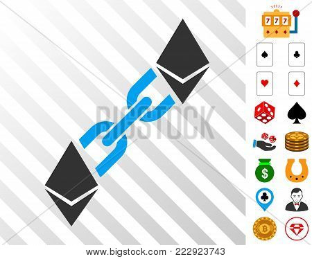 Ethereum Blockchain icon with bonus gamble pictograms. Vector illustration style is flat iconic symbols. Designed for gamble apps.