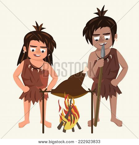 family of cavemen roasts meat at stake  - funny vector cartoon illustration on white background