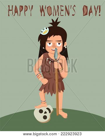 primitive woman with spear and enemy skull, women's day greeting - funny vector cartoon illustration in flat style