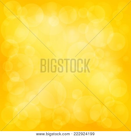 Orange Yellow Soft Bright Abstract Bokeh Background ,Soft Glow of the Sun , Defocused Lights, Illustration