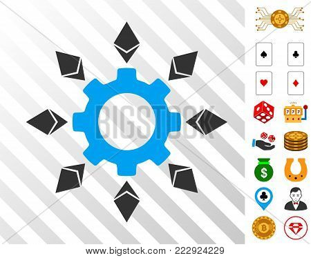Ethereum Configuration Gear pictograph with bonus gambling graphic icons. Vector illustration style is flat iconic symbols. Designed for gambling websites.